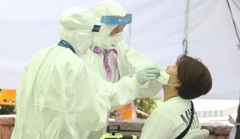 南韓單日新增67起武漢肺炎(新型冠狀病毒病,COVID-19)病例,創下23天以來的新高。(歐新社)