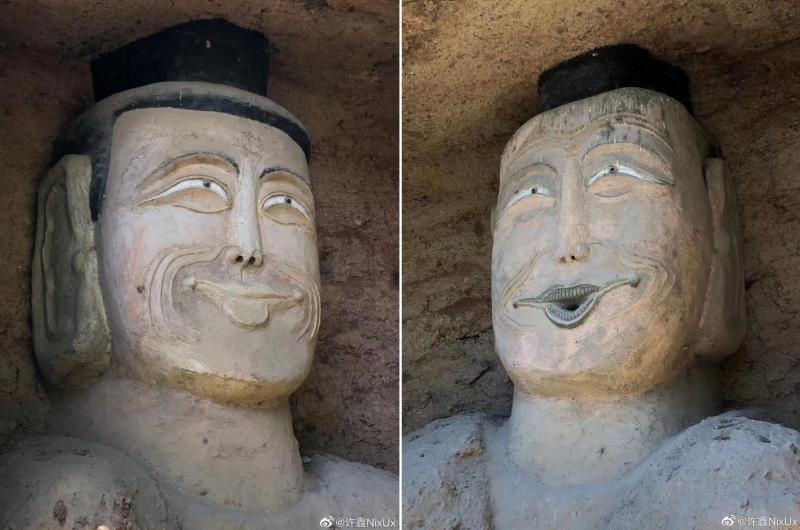 近來中國網民熱烈轉傳,位於石窟的「二立佛」修復過後的模樣,理應莊嚴的佛像經過加工整修後,卻顯得模樣滑稽。(圖擷取自微博)