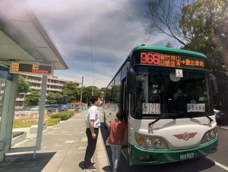 國道客運「1210林口-台北市北門」6月28日起納編為市區公車966線。(新北市政府交通局提供)