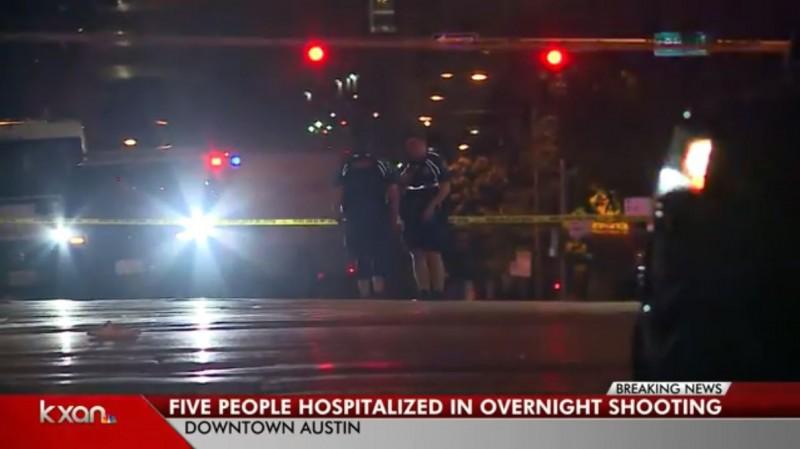 美國德州首府奧斯汀在當地時間21日凌晨3點發生槍擊案,已知有5人重傷命危。(圖擷取自KXAN-TV)