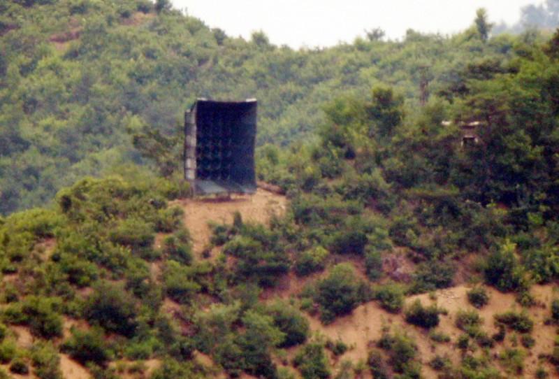 今日從南韓仁川的非軍事區所拍攝到的北韓對南韓喊話擴音器。(路透)