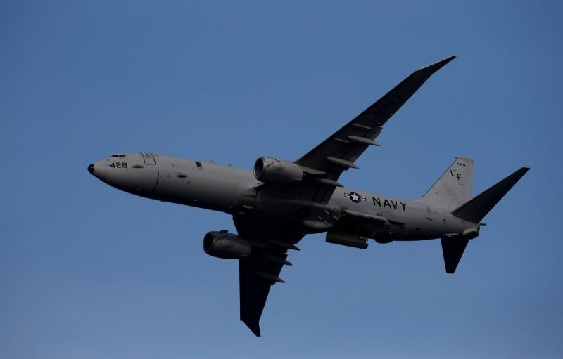 美軍偵察機連兩天在南海巡航。圖為P-8A。(路透)