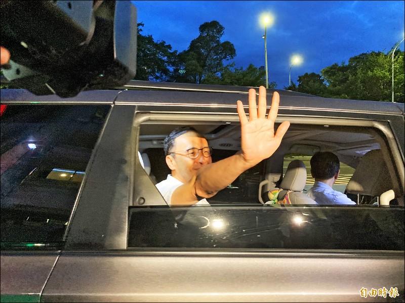 國民黨秘書長李乾龍昨邀歷任黨主席到家中聚會,朱立倫出席。(記者陳心瑜攝)