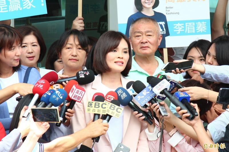 國民黨高市長參選人李眉蓁說,未來一定會尋求韓國瑜市長來站台。(記者李惠洲攝)