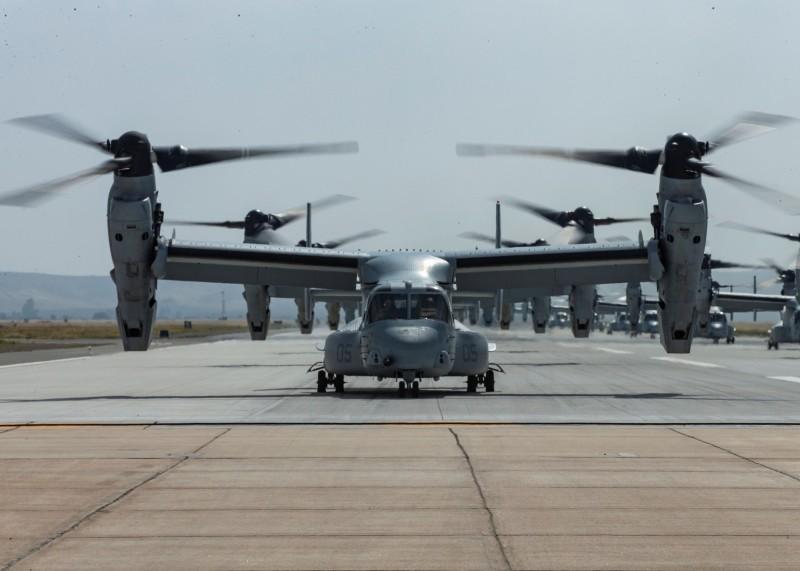 美國首架CMV-22B「魚鷹」傾斜旋翼機已於「海軍航空測試暨評估21中隊」完成測試,近日飛抵美國北島海軍航空站,移交美國海軍艦隊後勤支援中隊,圖為MV-22B。(路透)