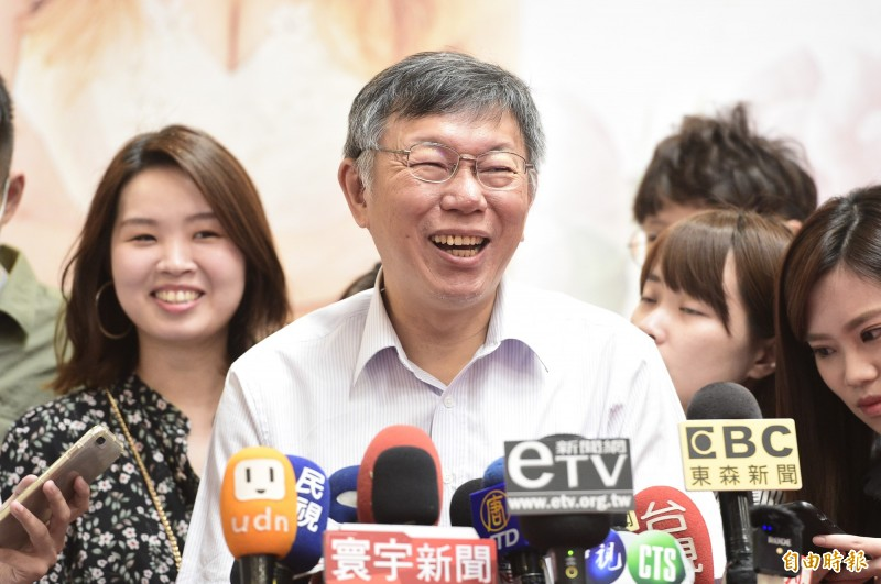 台北市長柯文哲26日出席2020台北夏季結婚購物節,會前接受媒體訪問。(記者叢昌瑾攝)