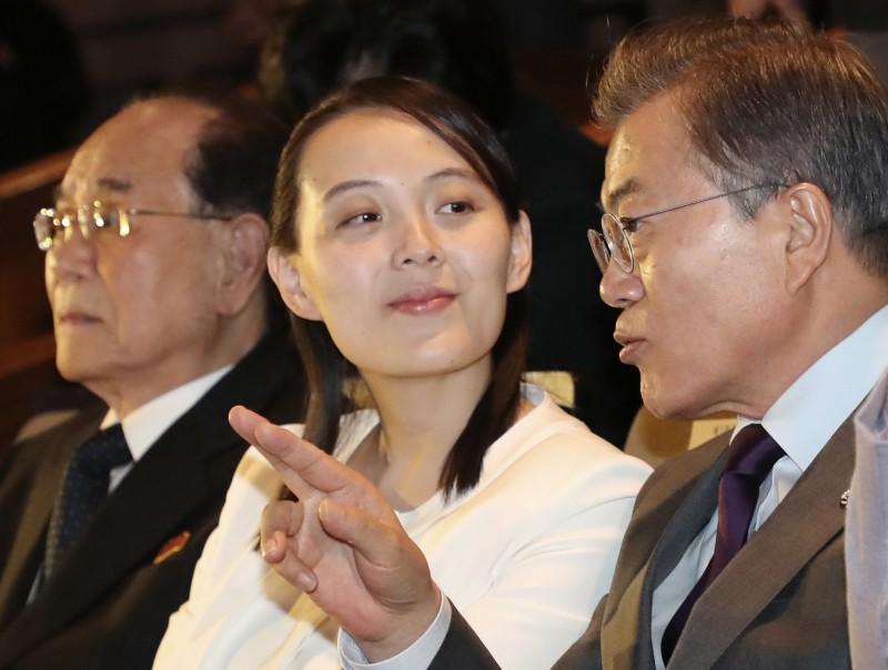 金與正(中)與南韓總統文在寅(右)。(美聯社資料照)