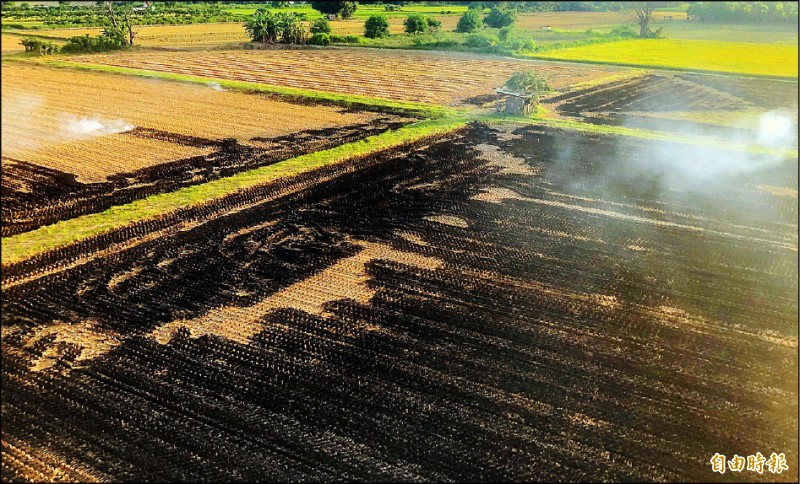 遏止燒稻草,雲林縣環保局透過陸、空加強巡查。  (記者黃淑莉攝)