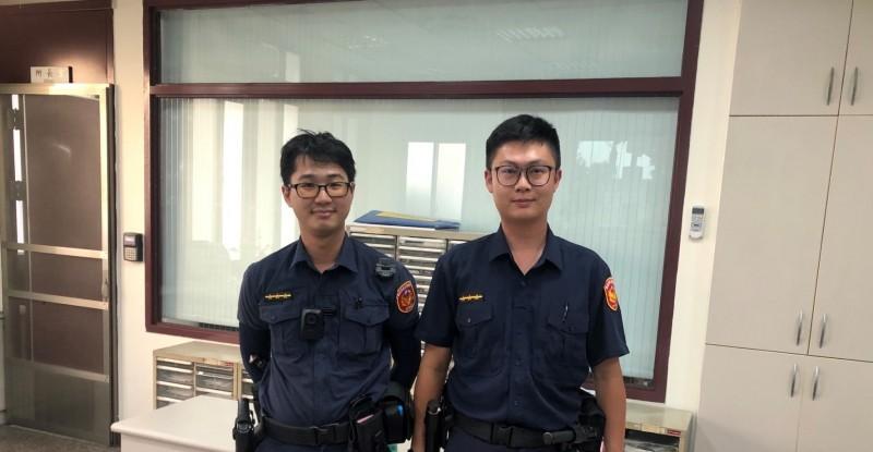 北市警北投分局石牌派出所警員陳韋廷、周彥齊。(記者劉慶侯翻攝)