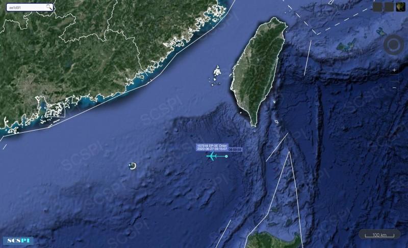 美軍EP-3E白羊式電子偵察機今天上午再次現身我國西南空域,經過巴士海峽相關海域朝南海偵巡。(圖:擷取自SCSPI)