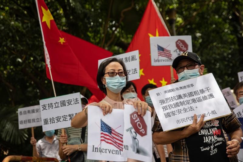 美國立法保障香港自由,引發中國官方和親中派人士反彈。(歐新社)
