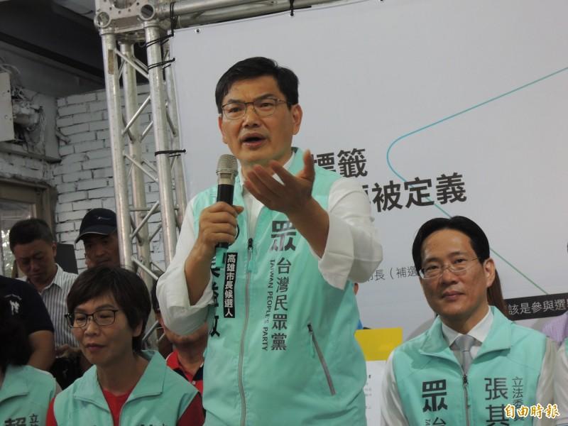 民眾黨高雄市長補選參選人吳益政說,現在當然柯文哲比較紅,幾天後誰知道。(記者王榮祥攝)