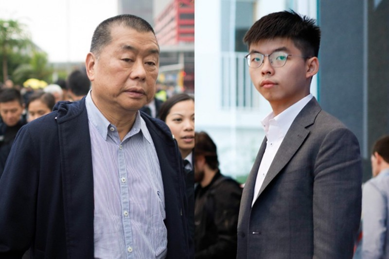 中國民運人士王丹引用消息指出,香港壹傳媒創辦人黎智英(左)、香港眾志秘書長黃之鋒(右)7月1日恐遭抓捕,但不確定是否會「送中」。(法新社,本報合成)