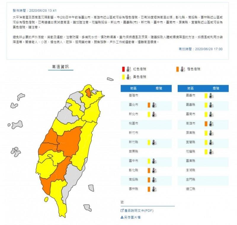 中央氣象局提醒民眾別忘了防曬、多喝水。(圖翻攝自中央氣象局官網)