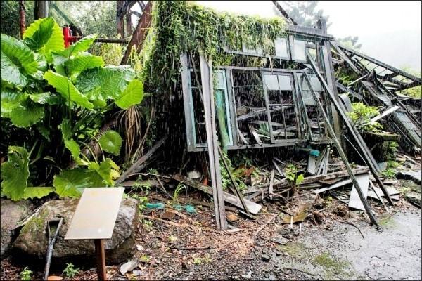 台北草山御賓館1998年被指定為市定古蹟,至今尚未修復,宛如廢墟。(資料照,何志偉辦公室提供)