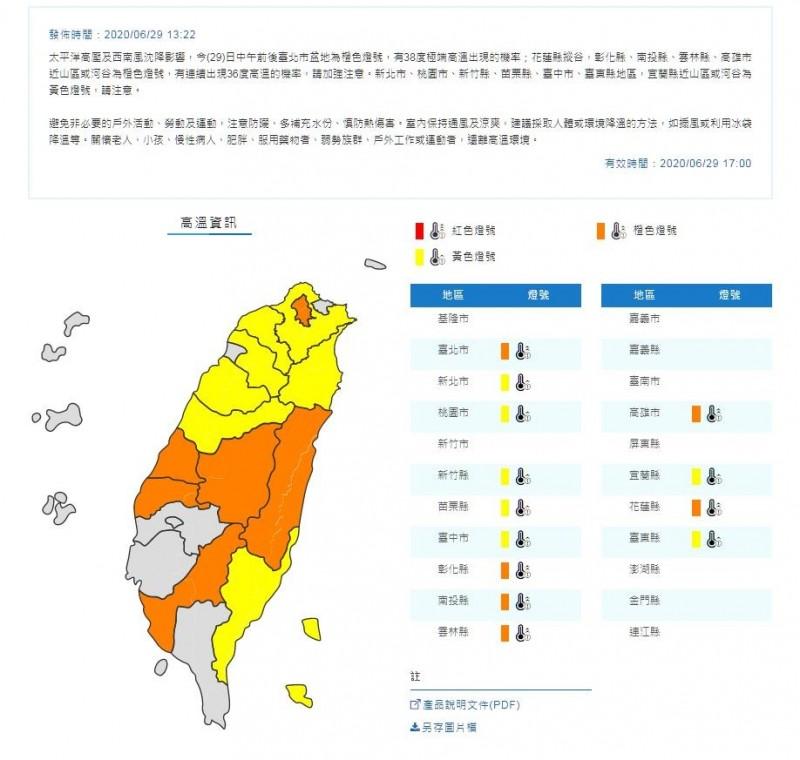 中央氣象局今天下午1時22分,針對13縣市發布高溫警戒。(圖翻攝自中央氣象局官網)