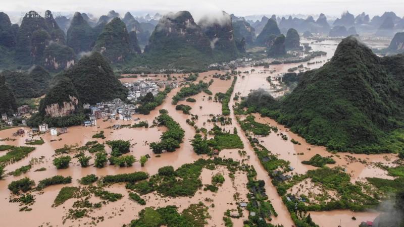 中國廣西桂林災情慘重。(法新社)
