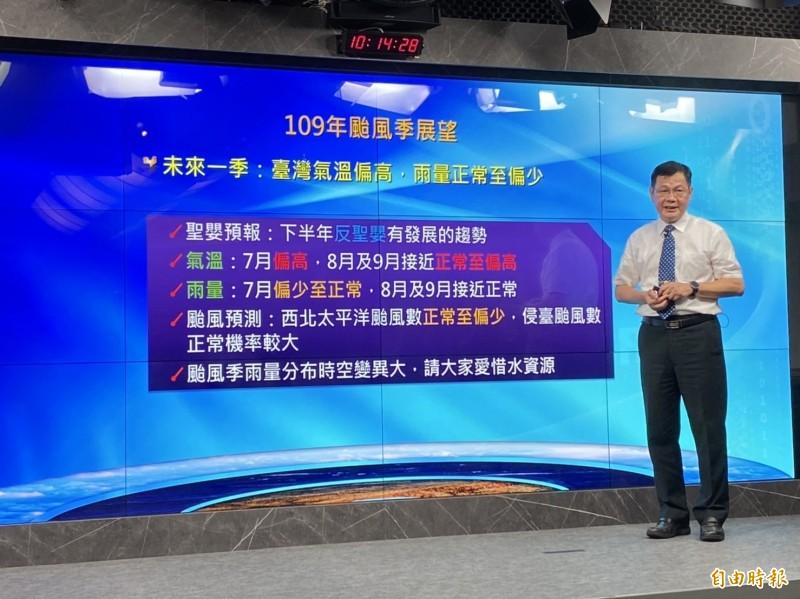 隨著颱風季接近,氣象局預報中心主任呂國臣表示,目前太平洋高壓仍強勢,未來一到兩週都還未看到熱帶擾動發展跡象。(記者蕭玗欣攝)