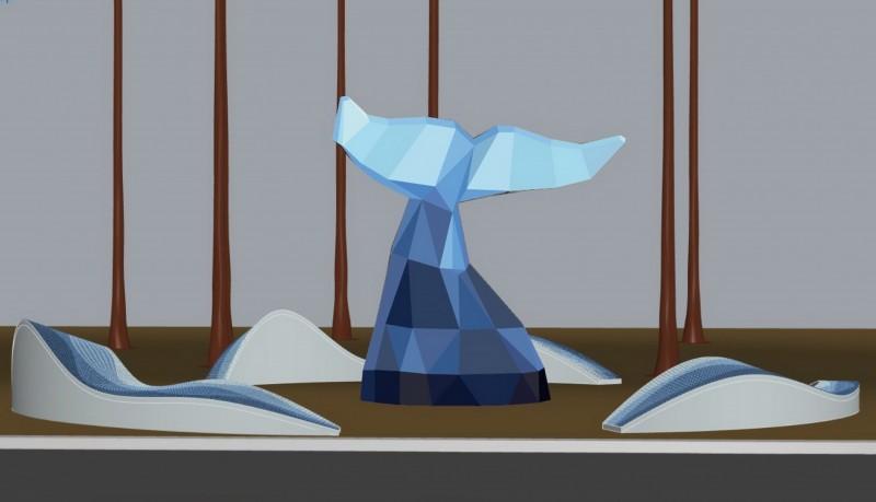 「鯨彩漁光」裝置藝術模擬圖。(安平區公所提供)