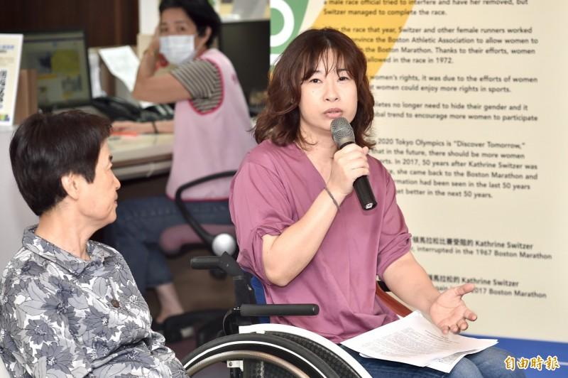 性平委員余秀芷表示,對女性障礙者來說,「我覺得我非常需要繼續留在體制當中」,因為一進去才發現是從零開始,因此,真的很需要在體制中繼續推動女性障礙者的議題。(記者塗建榮攝)