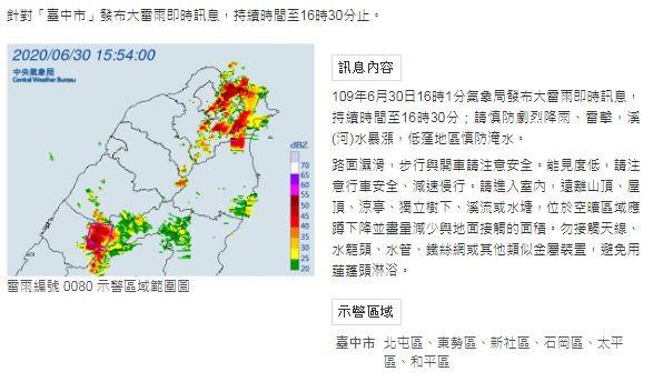 中央氣象局針對台中6區發布大雷雨警戒。(圖擷自中央氣象局)