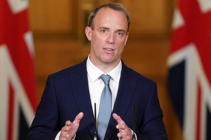 英國外交大臣拉布(見圖)表示,中國通過「港版國安法」是「嚴重的一步」。(法新社)