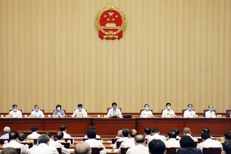 中國人大30日無異議通過港版國安法,圖為中國第13屆人大第20次會議畫面。(美聯社)