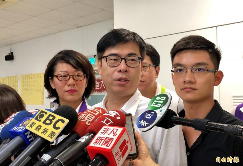 陳其邁指自己撐香港民主自由的立場非常堅定。(記者許麗娟攝)