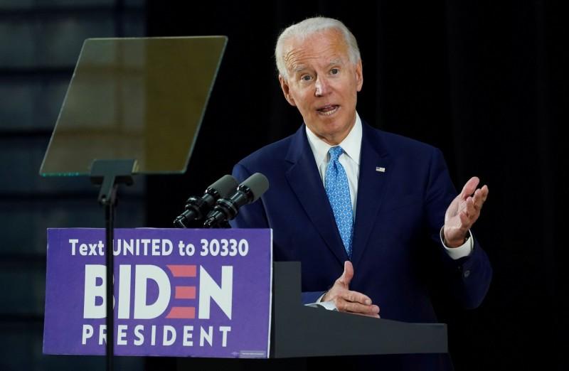 民主黨總統參選人拜登宣布,武漢肺炎疫情期間部會舉辦造勢大會。(路透)