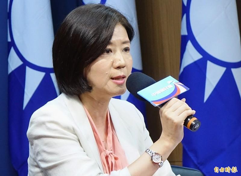國民黨文傳會主委王育敏今重申支持港人治港、高度自治的立場。(記者朱沛雄攝)