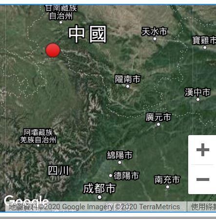 中國四川阿壩州清晨發生地震。(圖擷取自中國地震台網)