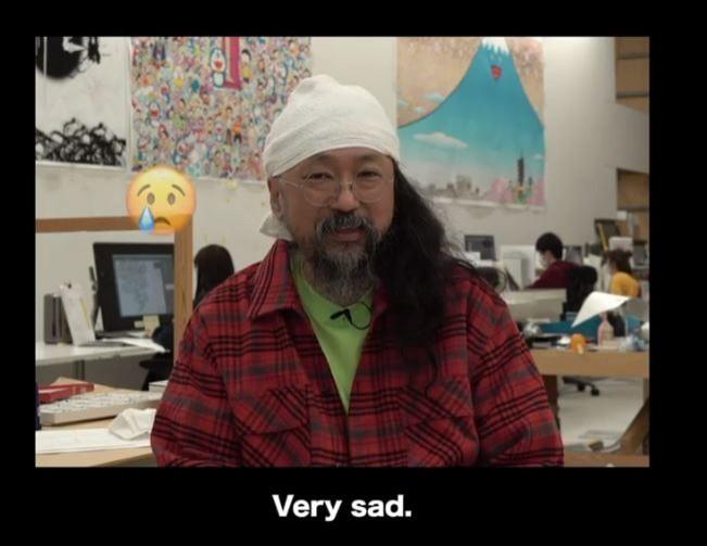 由於武漢肺炎疫情衝擊,村上隆的藝術公司「Kaikai Kiki」面臨嚴重財政危機,不得不停止許多藝術創作計畫。對此,村上隆苦笑說「非常傷心」,還附上哭臉表情符號。(圖擷取自Instaagram_takashipom)