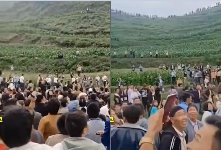 中國貴州威寧縣秀水鄉大山里近日連續數天有民眾聽到詭異叫聲,吸引居民好奇圍觀,還比喻為「龍的呻吟」,但也有人憂心是否為不祥前兆。(圖擷取自微博)