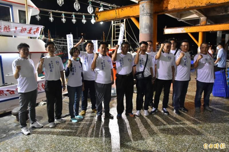 宜蘭縣議會的保釣辦公室出海受阻後,在岸上宣示捍衛主權不變決心。(記者張議晨攝)