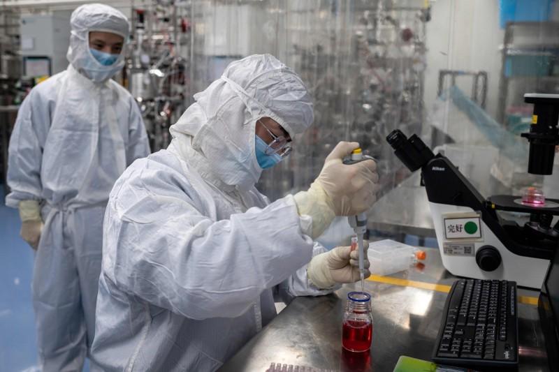 中國北京科興生物製品有限公司開發中的武漢肺炎(新型冠狀病毒病,COVID-19)疫苗,將在巴西12處研究中心展開臨床試驗。圖為北京科興生物武漢肺炎疫苗實驗室。(法新社)