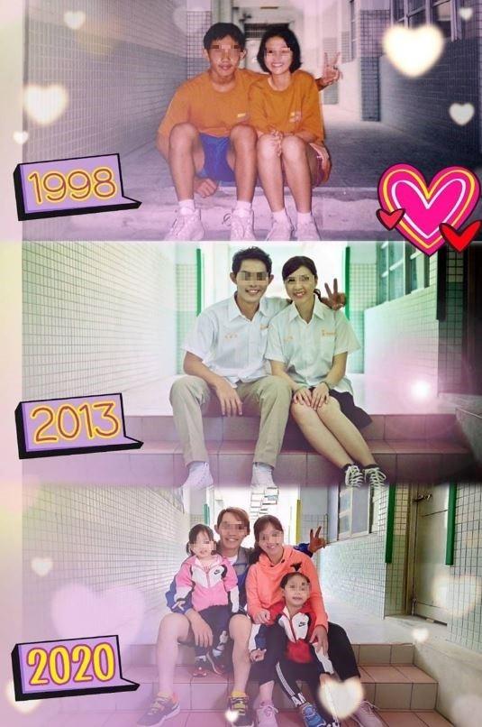 女網友分享自己與初戀丈夫的今昔對比圖,幸福的笑容始終如一。(圖擷取自爆廢公社二館)