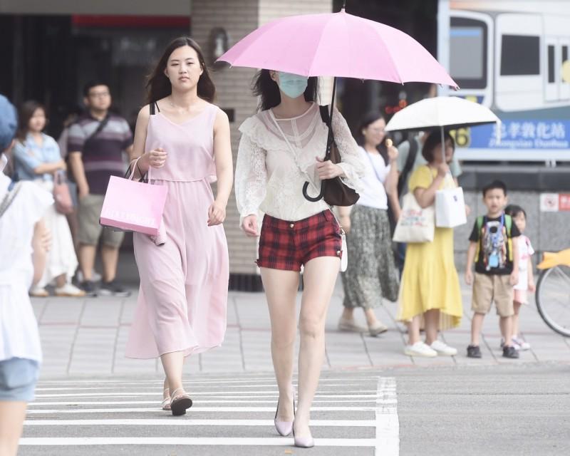 連日盛夏天氣,明天也仍是高溫炎熱的天氣,最高溫甚至可能突破36度以上,紫外線指數也隨之破表,外出慎防熱傷害並做好防曬措施。(記者簡榮豐攝)
