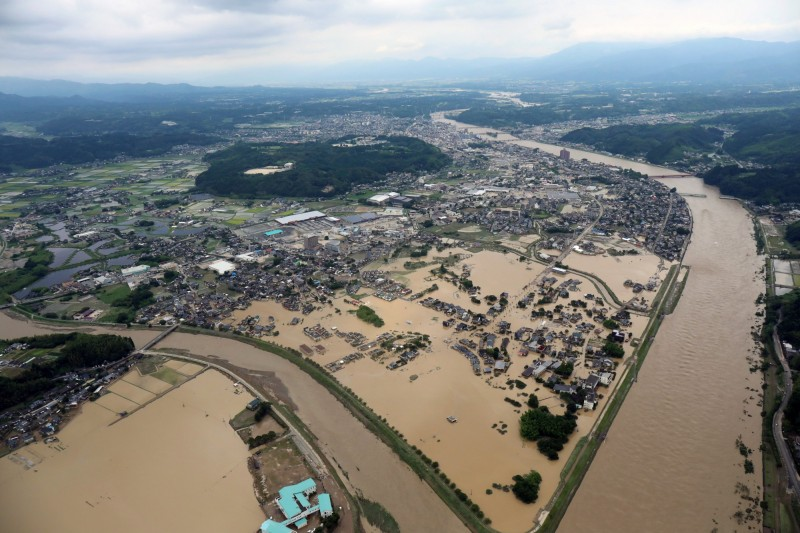 熊本縣人吉市大規模淹水。(歐新社)