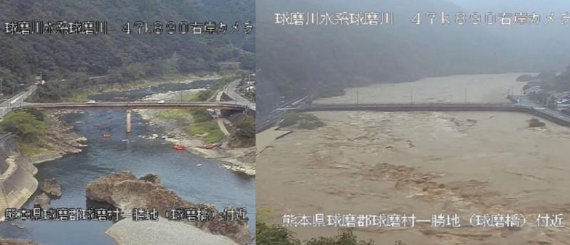 有網友PO出熊本縣球磨村球磨橋,暴雨前後的對比照片,讓不少網友看了難以置信。(擷取自推特)