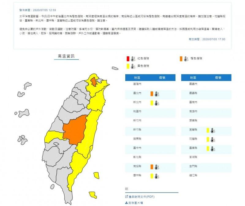 中央氣象局今天中午12時59分,針對7縣市發布高溫特報。(圖翻攝自中央氣象局官網)