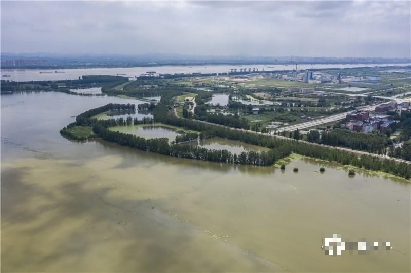中國暴雨不斷,圖為湖北省黃岡市7月3日暴雨過後的巴河,綠洲成孤島。(圖擷取自網路)