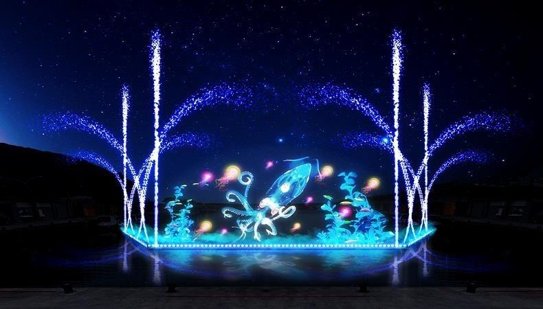 深澳漁港光雕水舞秀。(圖由新北漁業處提供)