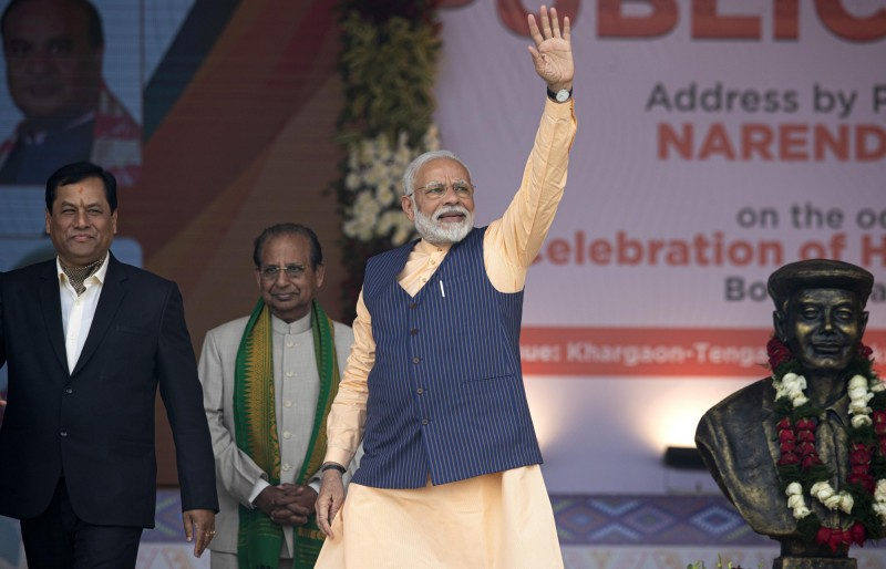 印度總理莫迪(見圖)不滿中國,近期刪除中國微博帳號。(美聯社檔案照)