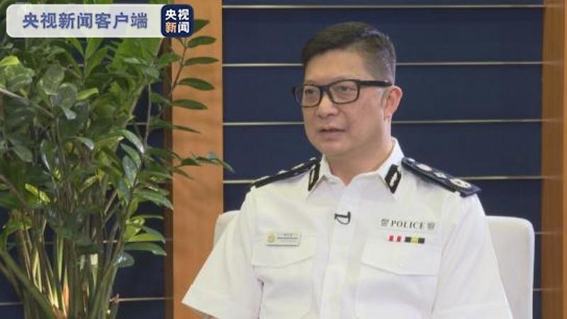 香港警務處處長鄧炳強5日接受中國官媒《央視》採訪時稱,國安法實施後已產生很大的震懾力,一些反中亂港分子已經開始退縮。(圖擷自微博)