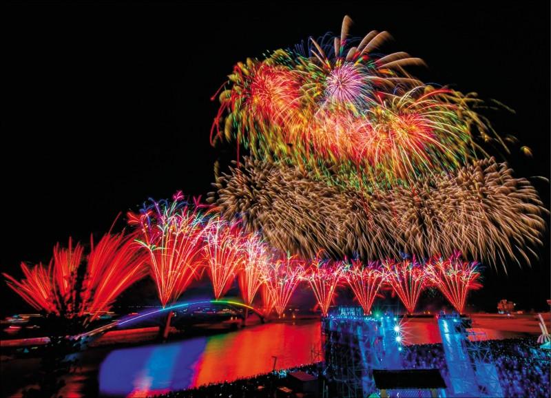 後疫情時代全台首場大型觀光活動─澎湖國際海上花火節,昨晚在馬公觀音亭登場,吸引2萬8千多名遊客入場。(圖:曾惠玟提供)