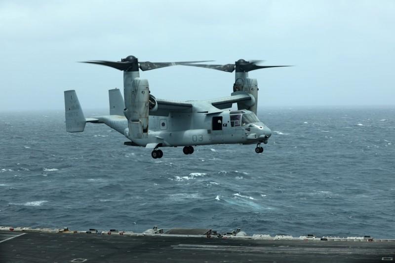 美國同意向印尼出售8架MV-22 Block C「魚鷹」傾斜旋翼機,加上相關的支援設備、維護及人員培訓,估計總價約為新台幣589億元。(路透)