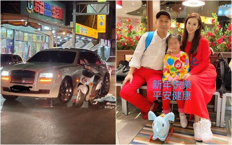 嘉義市5日發生一起機車和勞斯萊斯幻影擦撞事故(圖左),車主竟是「戲說一姊」陳小菁(圖右)圈外丈夫林佐岳(左)。(圖擷自嘉義大小事、林佐岳臉書)