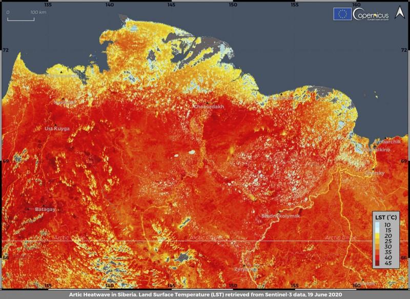 西伯利亞北極圈已經飆破歷年來6月平均溫度的高溫紀錄。圖為西伯利亞6月19日地表平均溫度紀錄。(美聯社)