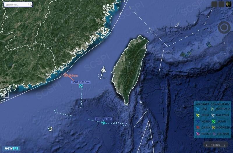 美軍1架EP-3E電偵機,今天上午逼近中國廣東進行抵近偵察,距中國僅60.94浬。(圖:擷取自SCS Probing Initiative)