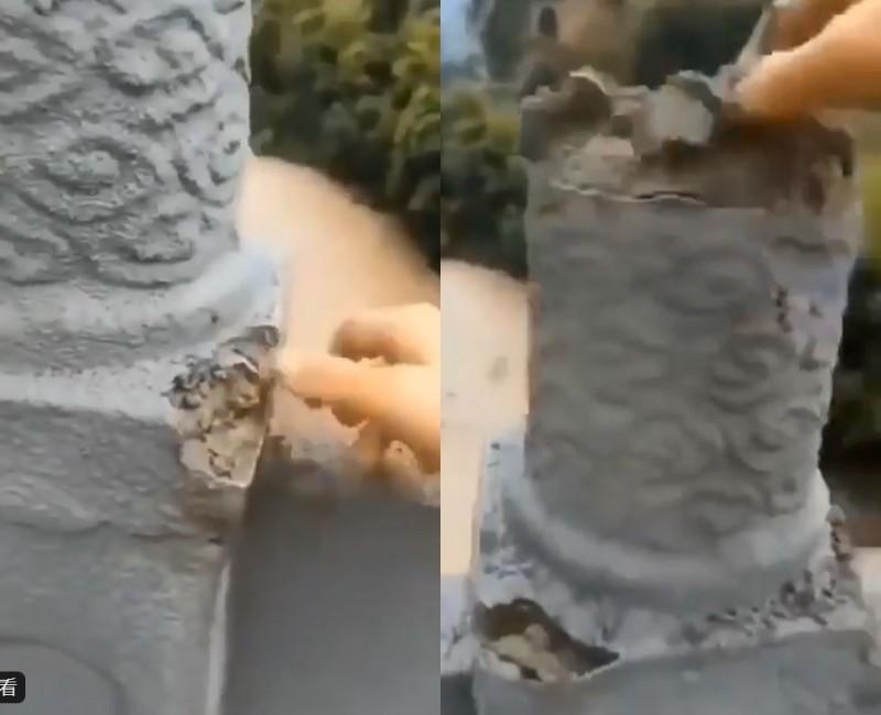 網路傳出一段疑似重慶民眾「手撕大橋」的影片,事後當局也證實影片屬實,但聲稱該座大橋雖完工但尚未驗收。(圖擷自推特,本報合成)